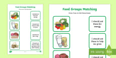 Food Group Matching Activity Activity Sheet