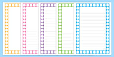 Number Shapes Page Borders