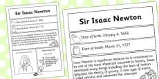 Sir Isaac Newton Significant Individual Fact Sheet