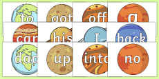 100 High Frequency Words on Planets