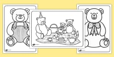 Teddy Bear's Picnic Colouring Pages