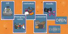 Halloween Fancy Dress Shop Role Play Signs