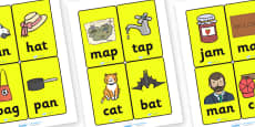 CVC Word Cards A for Visually Impaired