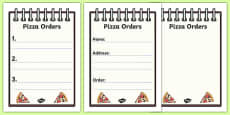 Pizza Shop Role Play Order Forms