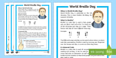KS1 World Braille Day Differentiated Fact File
