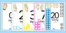 Visual Numberline Posters 1-20 Chinese Mandarin Translation