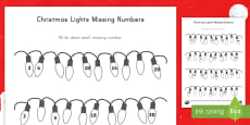 * NEW * Christmas Lights Missing Numbers Counting in 2s, 3s, 5s and 10s Activity Sheet