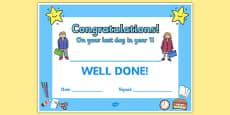 Last Day Award Certificates Year 1