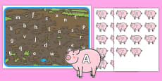Pigs In Mud Capital and Lower Case Letter Matching Game
