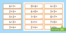 Number Bonds 6 and 7 Number Sentence Cards