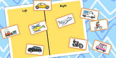 Left Or Right Transport Sorting Activity
