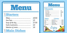Restaurant Role Play Menu
