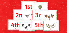 Twelve Days of Christmas Sequencing Cards