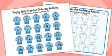 Rugby Strip Number Ordering Activity Romanian Translation