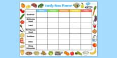 Childminder Weekly Menu Planner