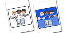 Boys Toilets Area Sign