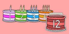 Numbers 0-12 On Birthday Cakes