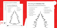 Christmas Tree Decorating Reading Comprehension Activity French