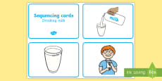 3 Step Sequencing Cards: Drinking Milk