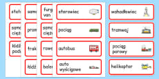 Transport Topic Word Cards Polish