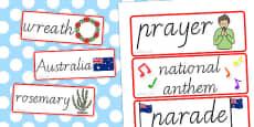 Australia - Anzac Day Word Cards