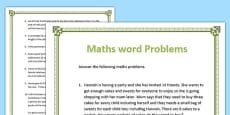 Maths Word Problems Activity Sheets