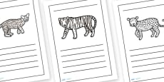 Jungle Animal Writing Frames Lined