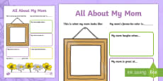 All About My Mom Activity Sheet