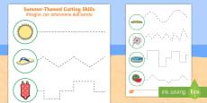 Summer Cutting Skills Activity Sheet English/Italian