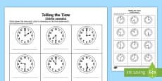 O'clock and Half Past Times Activity Sheet English/Romanian