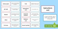 Acid and Alkalis Pairs Glossary Activity
