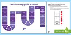 Practising Verb Tenses Board Game Spanish