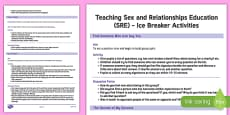 Sex and Relationships Education (SRE) Ice Breakers Teaching Ideas