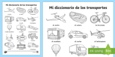Transport Dictionary Words Colouring Sheet Spanish