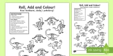 Dinosaur Colour and Roll Activity Sheet English/Polish