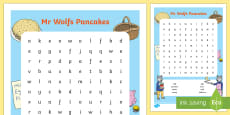 Word Search to Support Teaching on Mr Wolf's Pancakes