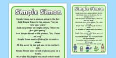 Simple Simon Nursery Rhyme Poster