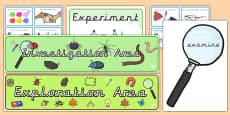 EYFS Investigation Area Classroom Set Up Pack Precursive