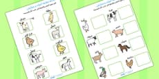 Mothers and their Young Farm Animals Matching Activity Arabic