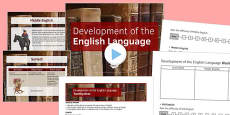 Introduction to Shakespeare Lesson Pack 1: Development of the English Language Lesson Pack