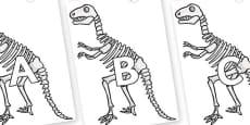 A-Z Alphabet on Dinosaur Skeletons