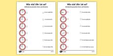 Telling the Time in German Activity Sheet