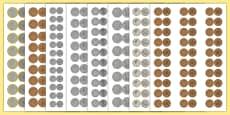 Maths Intervention Realistic Size British Coins