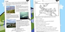 Europe Natural Features Reading Differentiated Comprehension Activity