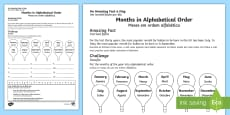 Months in Alphabetical Order Activity Sheet English/Portuguese