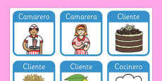 Restaurant Role Play Badges Spanish