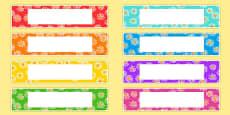 Flower Drawer Peg Name Labels