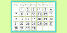 Monthly Calendar Cut and Stick Template