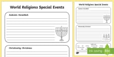 Jewish and Christian Celebrations Activity Sheet