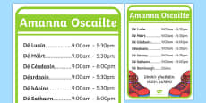 Shoe Shop Role Play Opening Times Gaeilge